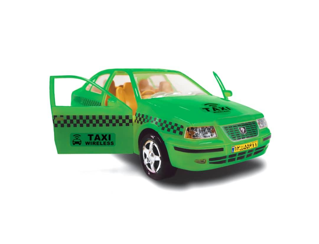 ماشین اسباب بازی در بازشو تاکسی سمند رنگ سبز